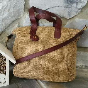 Aigner convertible woven and leather crossbody